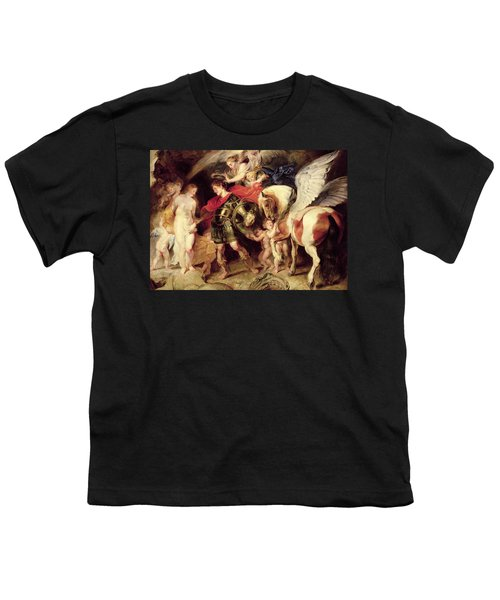 Perseus Liberating Andromeda Youth T-Shirt by Peter Paul Rubens
