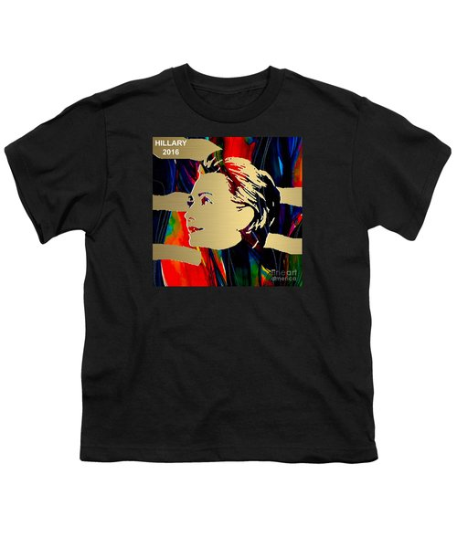 Youth T-Shirt featuring the mixed media Hillary Clinton Gold Series by Marvin Blaine