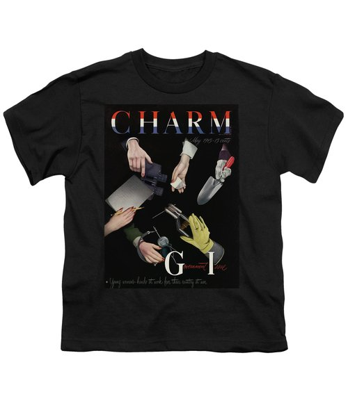 A Charm Cover Of Women's Hands Reaching For Tools Youth T-Shirt