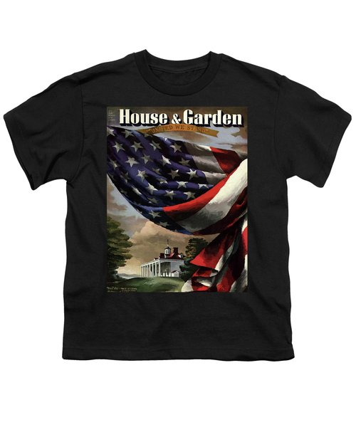 A House And Garden Cover Of An American Flag Youth T-Shirt