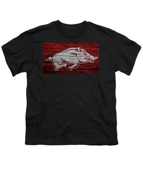 Arkansas Razorbacks On Wood Youth T-Shirt by Dan Sproul