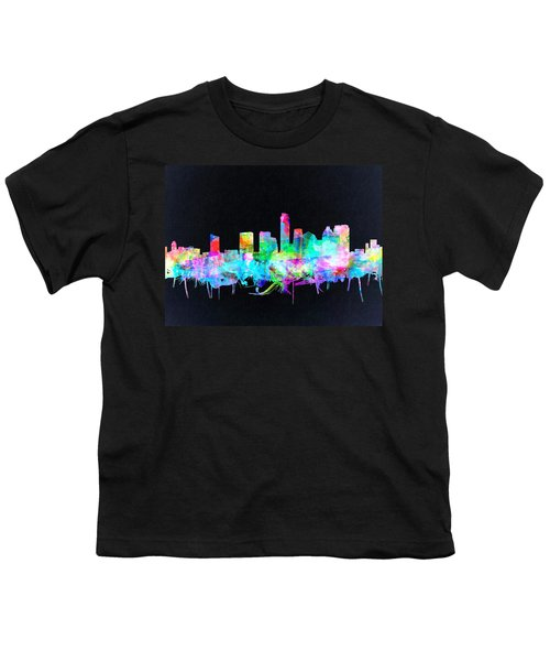 Austin Texas Skyline Watercolor 3 Youth T-Shirt by Bekim Art