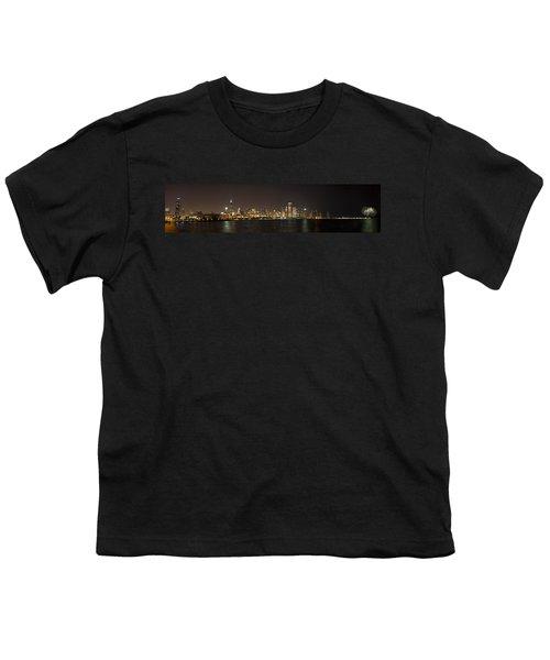 Beautiful Chicago Skyline With Fireworks Youth T-Shirt by Adam Romanowicz