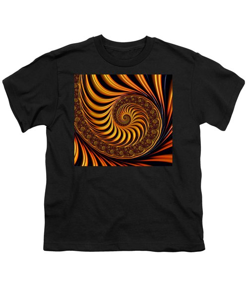 Beautiful Golden Fractal Spiral Artwork  Youth T-Shirt