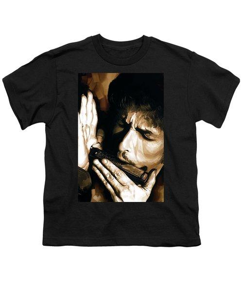 Bob Dylan Artwork 2 Youth T-Shirt by Sheraz A