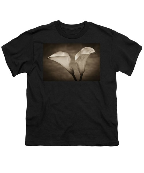 Youth T-Shirt featuring the photograph Calla Lilies In Sepia by Sebastian Musial