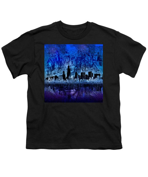 Chicago Skyline Blue Version Youth T-Shirt