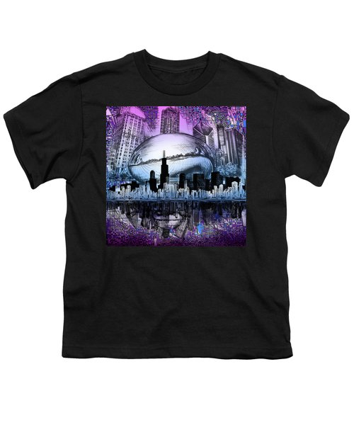 Chicago Skyline Drawing Collage 2 Youth T-Shirt