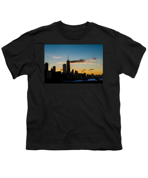 Chicago Skyline Silhouette Youth T-Shirt