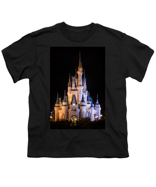 Cinderella's Castle In Magic Kingdom Youth T-Shirt by Adam Romanowicz