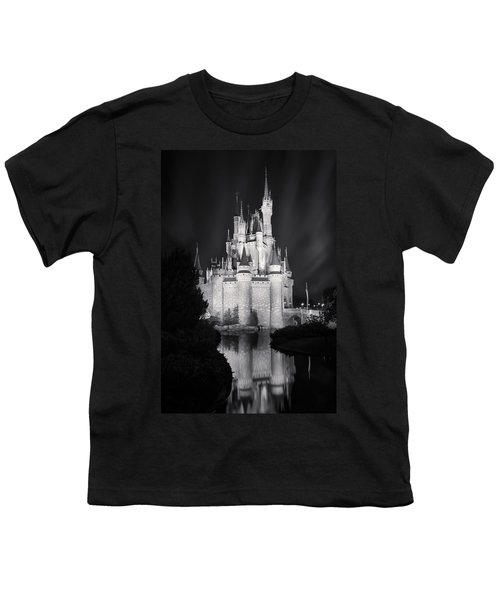 Cinderella's Castle Reflection Black And White Youth T-Shirt