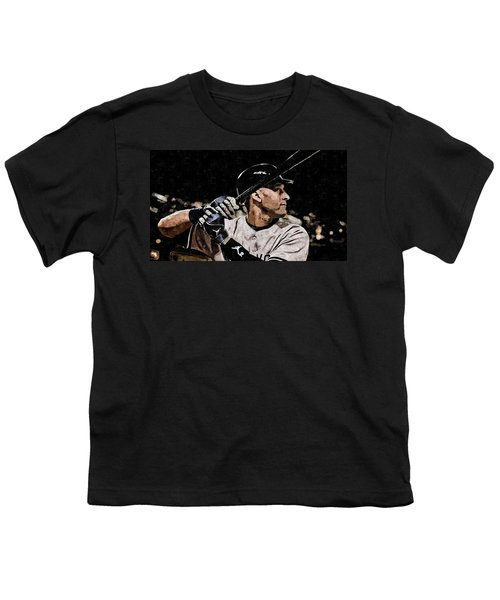Derek Jeter On Canvas Youth T-Shirt by Florian Rodarte