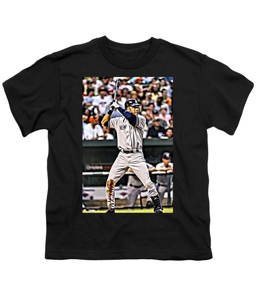 Derek Jeter Painting Youth T-Shirt by Florian Rodarte