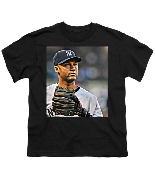 Derek Jeter Portrait Youth T-Shirt by Florian Rodarte