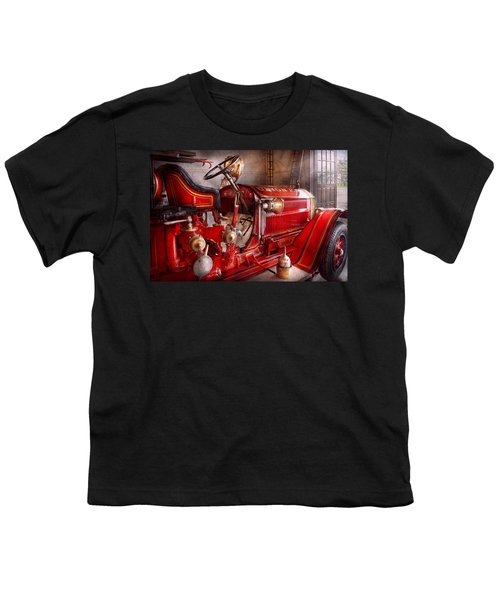 Fireman - Truck - Waiting For A Call Youth T-Shirt
