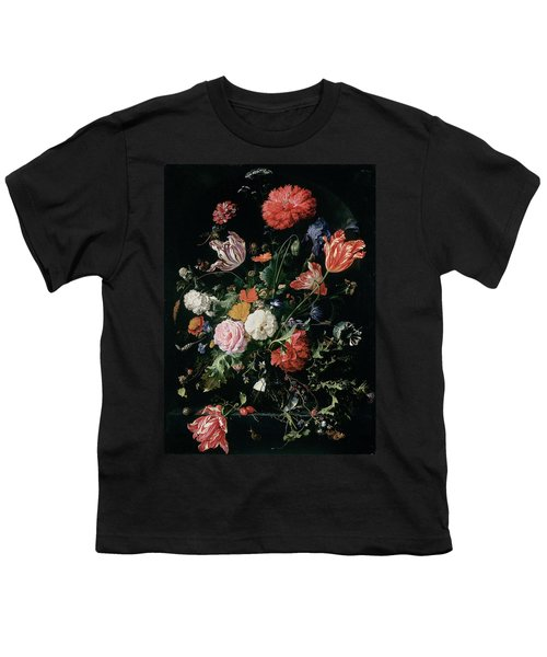 Flowers In A Glass Vase, Circa 1660 Youth T-Shirt