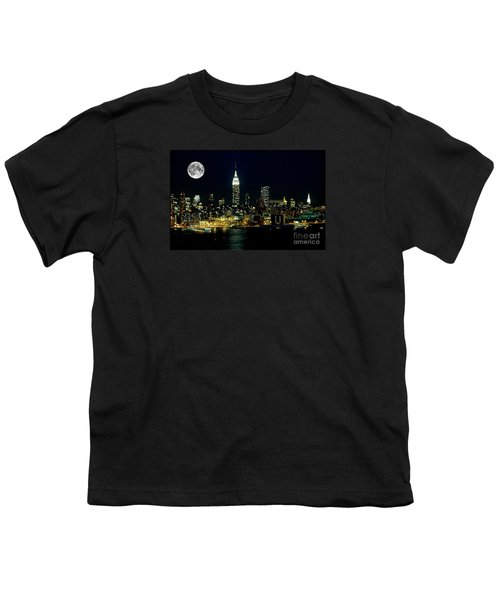 Full Moon Rising - New York City Youth T-Shirt by Anthony Sacco