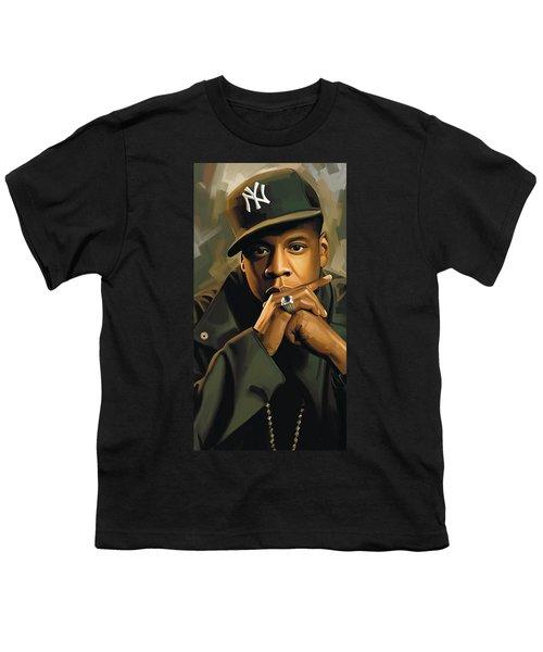 Jay-z Artwork 2 Youth T-Shirt by Sheraz A