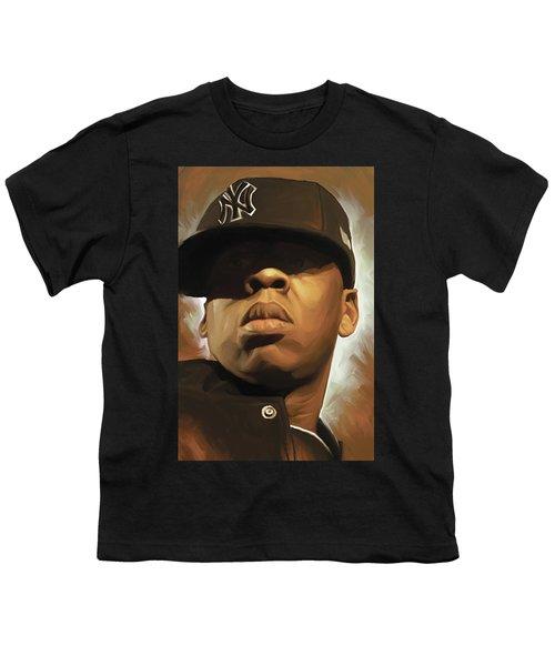 Jay-z Artwork Youth T-Shirt by Sheraz A