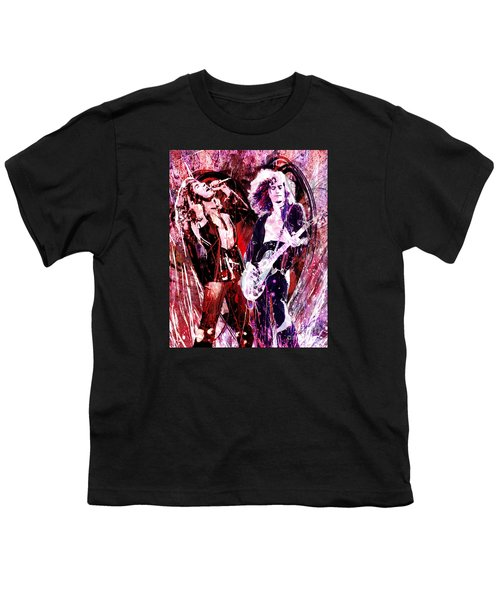 Led Zeppelin - Jimmy Page And Robert Plant Youth T-Shirt by Ryan Rock Artist