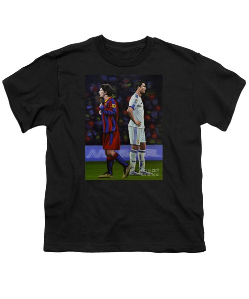 Lionel Messi And Cristiano Ronaldo Youth T-Shirt by Paul Meijering