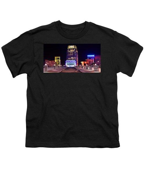 Nashville Sight Night Skyline Pinnacle Panorama Color Youth T-Shirt by Jon Holiday