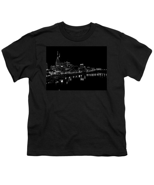 Nashville Skyline At Night In Black And White Youth T-Shirt by Dan Sproul
