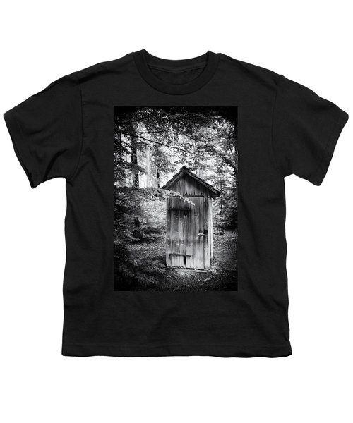 Outhouse In The Forest Black And White Youth T-Shirt