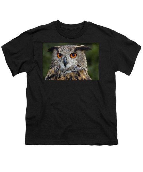 Owl Bubo Bubo Portrait Youth T-Shirt by Matthias Hauser