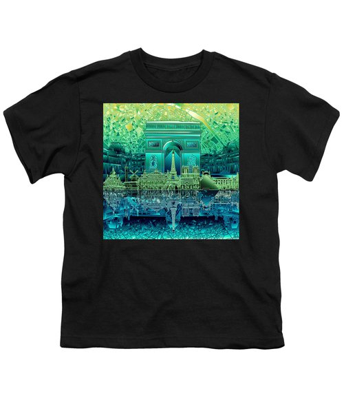 Paris Skyline Landmarks 6 Youth T-Shirt