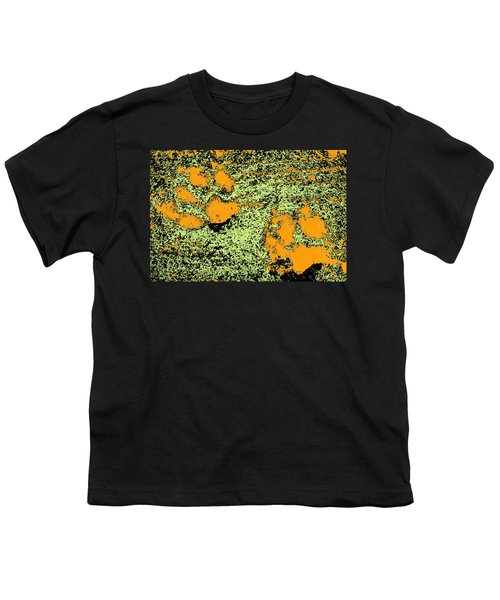 Paw Prints In Orange Lime And Black Youth T-Shirt