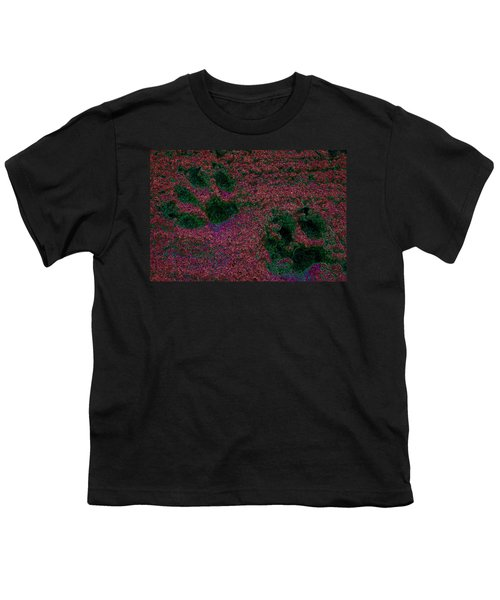 Paw Prints In Red And Green Youth T-Shirt