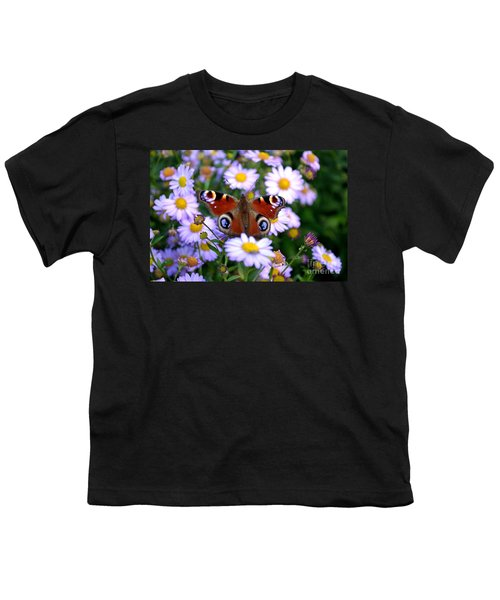 Peacock Butterfly Perched On The Daisies Youth T-Shirt