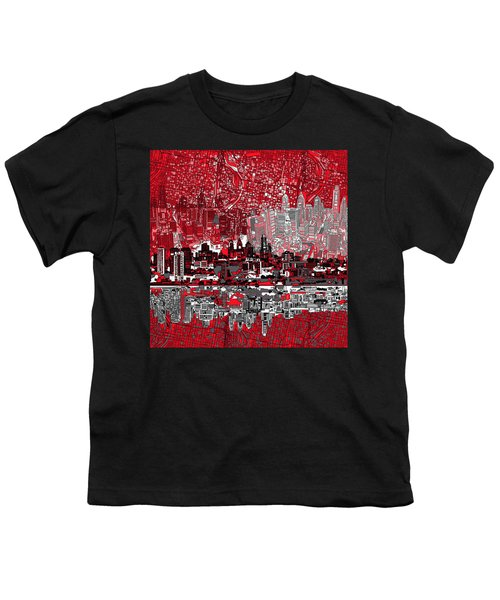 Philadelphia Skyline Abstract 4 Youth T-Shirt by Bekim Art