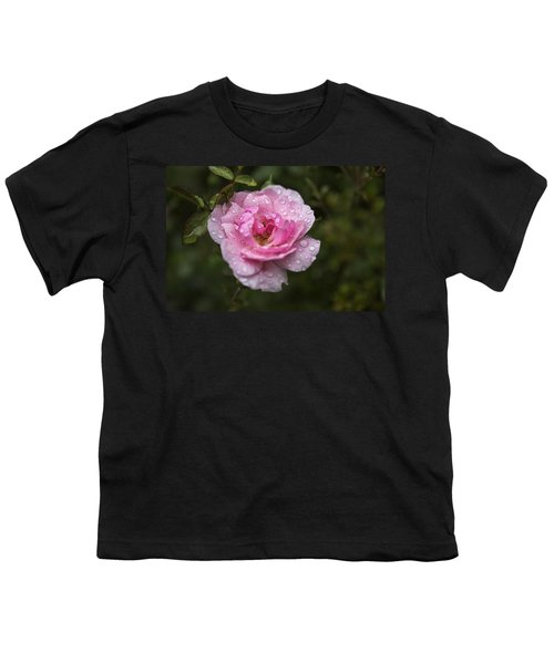 Pink Rose With Raindrops Youth T-Shirt