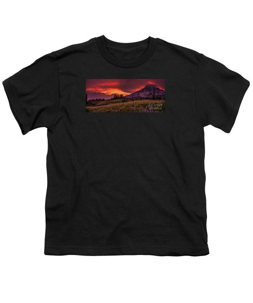 Rainier Fire Mountain Panorama Youth T-Shirt