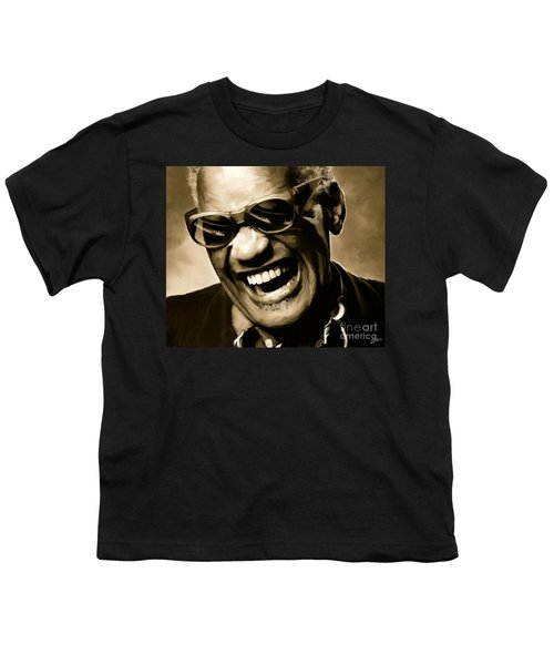 Ray Charles - Portrait Youth T-Shirt by Paul Tagliamonte
