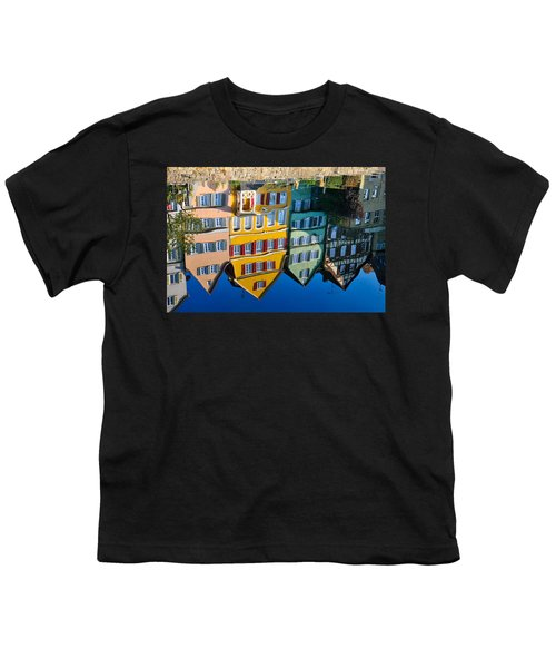 Reflection Of Colorful Houses In Neckar River Tuebingen Germany Youth T-Shirt by Matthias Hauser