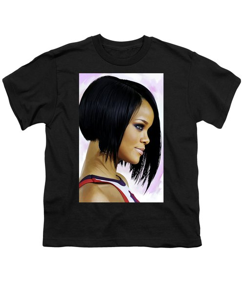 Rihanna Artwork Youth T-Shirt by Sheraz A