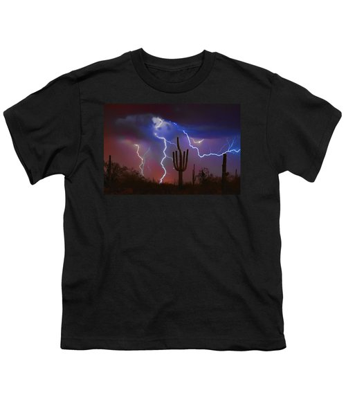 Saguaro Lightning Nature Fine Art Photograph Youth T-Shirt by James BO  Insogna