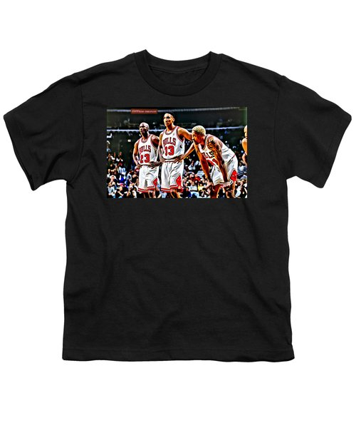 Scottie Pippen With Michael Jordan And Dennis Rodman Youth T-Shirt