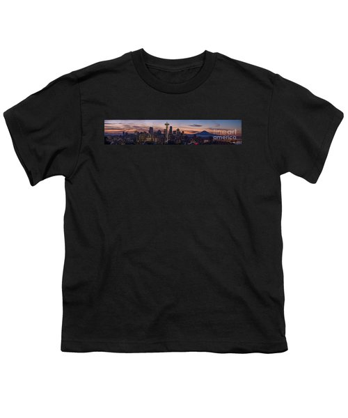 Seattle Cityscape Morning Light Youth T-Shirt by Mike Reid