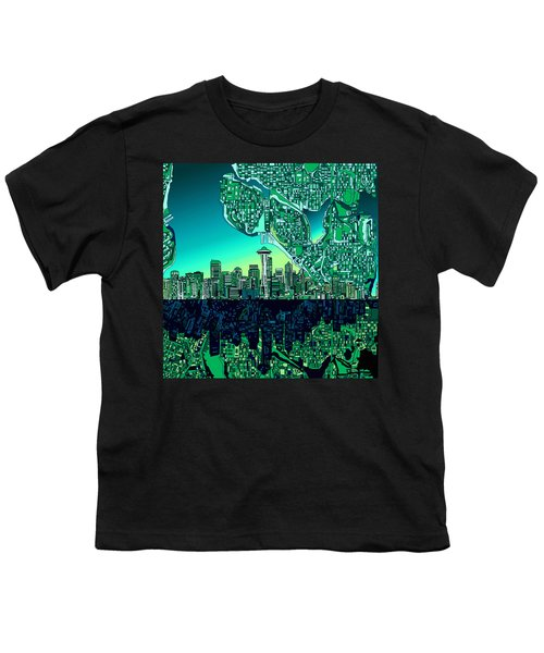 Seattle Skyline Abstract Youth T-Shirt
