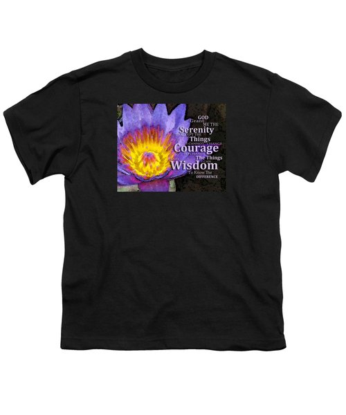 Serenity Prayer With Lotus Flower By Sharon Cummings Youth T-Shirt