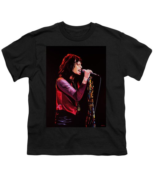Steven Tyler In Aerosmith Youth T-Shirt by Paul Meijering
