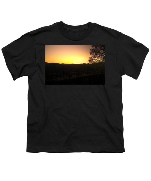 Youth T-Shirt featuring the photograph Sunset Behind Hills by Jonny D