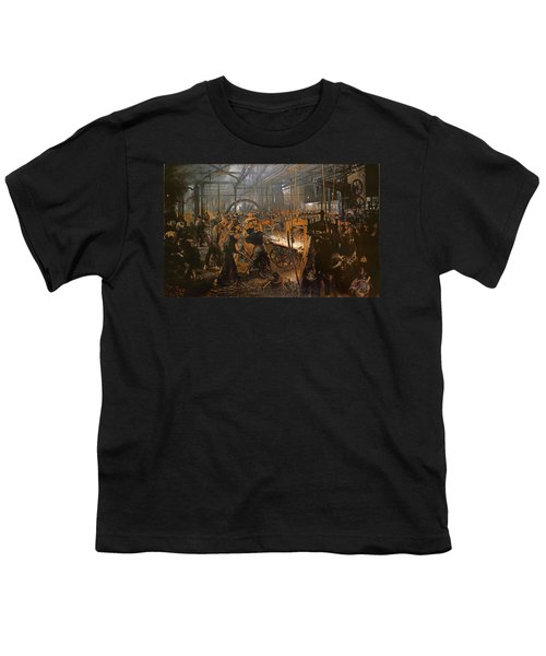The Iron-rolling Mill Oil On Canvas, 1875 Youth T-Shirt by Adolph Friedrich Erdmann von Menzel
