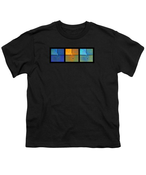 Triptych Blue Orange Cyan - Colorful Rust Youth T-Shirt