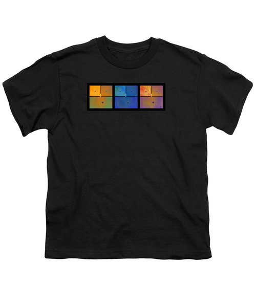 Triptych Orange Blue Gold - Colorful Rust Youth T-Shirt