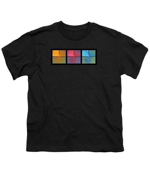 Triptych Orange Magenta Cyan - Colorful Rust Youth T-Shirt